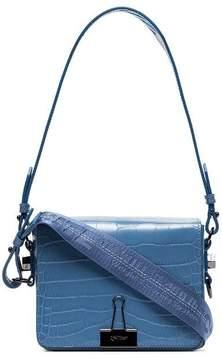 Off-White Blue Crocodile Embossed Leather Shoulder Bag