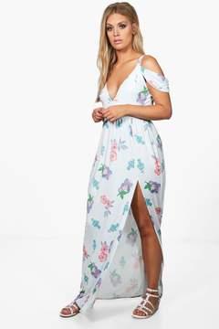 boohoo Plus Felicity Open Shoulder Floral Maxi Dress