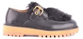 Car Shoe Women's Black Leather Monk Strap Shoes.