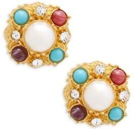 Ben-Amun Crystal and Faux Pearl Clip-On Earrings
