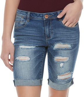 Almost Famous Juniors' Ripped Jean Bermuda Shorts