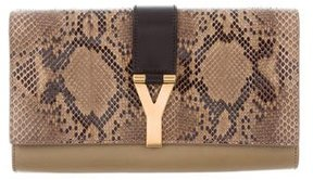 Saint Laurent Python-Trimmed Chyc Clutch - ANIMAL PRINT - STYLE