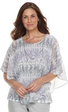 Alfred Dunner Petite Studio Scroll Popover Top
