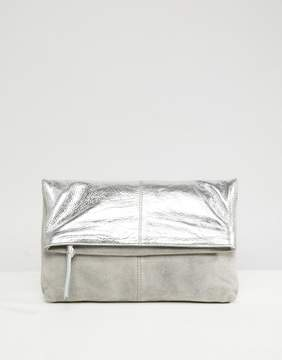 Asos Leather And Suede Foldover Clutch Bag