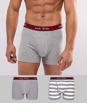 Jack Wills Chetwood 2 Pack Stripe Trunks in White & Gray