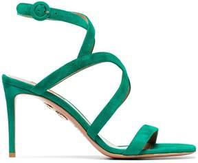 Aquazzura Green Morena 85 suede sandals