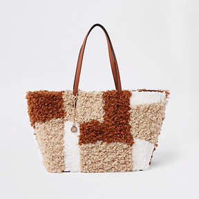 River Island Beige fleece patch textured tote bag