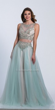Dave and Johnny Scroll Beaded Bateau Neck Chiffon Two Piece Prom Dress