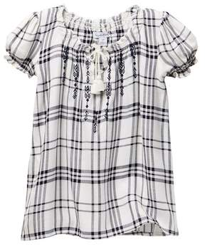 Love, Fire Embroidered Plaid Top (Big Girls)