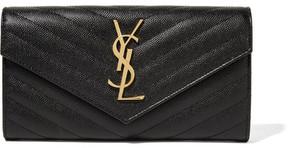 Saint Laurent - Quilted Textured-leather Wallet - Black