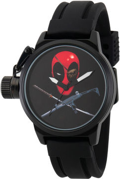 Marvel Mens Deadpool Black Crown Protector Strap Watch