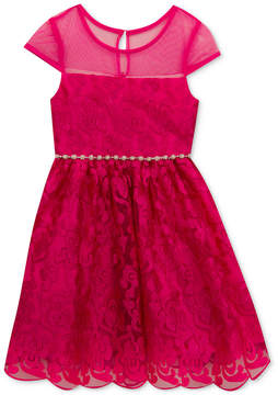 Rare Editions Embroidered Illusion-Neck Dress, Toddler Girls