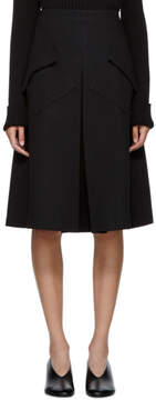 Sara Lanzi Black Wool Pleated Midi Skirt