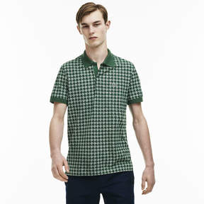 Lacoste Men's Regular Fit Piqu Polo Houndstooth Print Caviar Shirt