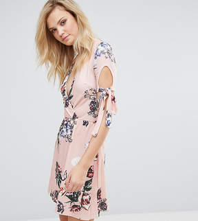 Oh My Love Tall Plunge Tea Dress With Tie Sleeves In Floral Print