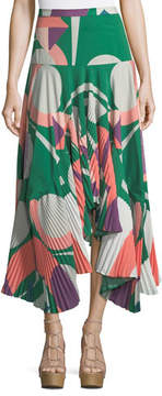 Alexis Liann Pleated High-Low Midi Skirt