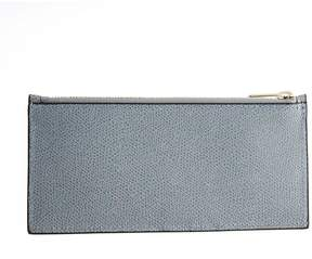 Valextra Grey Powder Grained Leather Cards Holder