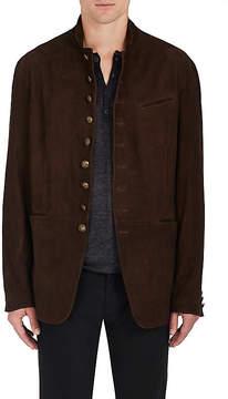 John Varvatos Men's Flannel Suede Cutaway Jacket