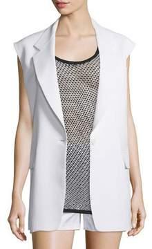DKNY Crepe Oversized Open-Back Vest, Chalk
