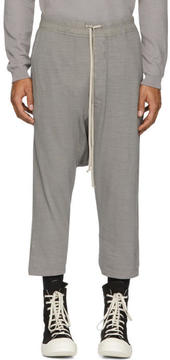 Rick Owens Grey Drawstring Cropped Lounge Pants