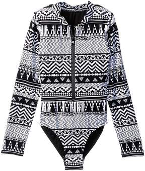 Seafolly Jungle Geo Long Sleeve Surf Tank One-Piece Girl's Swimsuits One Piece