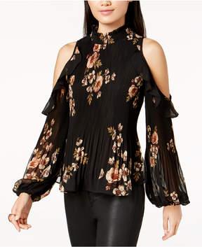 Astr Shae Floral-Print Pleated Cold-Shoulder Top