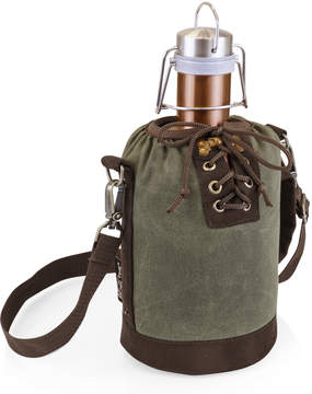 Picnic Time Khaki Green & Brown Insulated Growler Tote & Copper Steel Growler