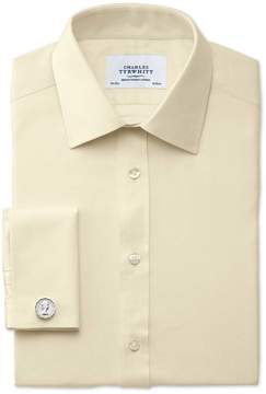Charles Tyrwhitt Extra Slim Fit Egyptian Cotton Cavalry Twill Yellow Dress Shirt French Cuff Size 14.5/32
