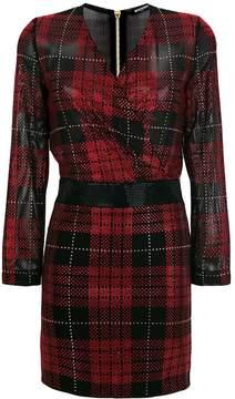 Balmain embellished check mini dress