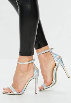 Missguided Silver Holographic Barely There Heels