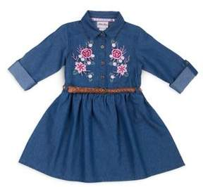Little Lass Little Girl's Floral-Embroidered Chambray Dress