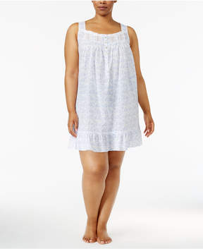 Eileen West Plus Size Eyelet-Trimmed Printed Cotton Nightgown