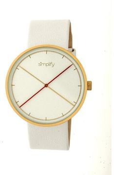 Simplify The 4100 SIM4104 Gold and White Leather Analog Watch