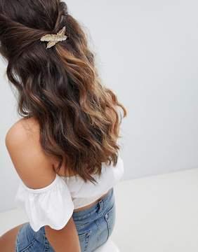 Asos Design ASOS DESIGN Cross Leaf Hair Barette Clip