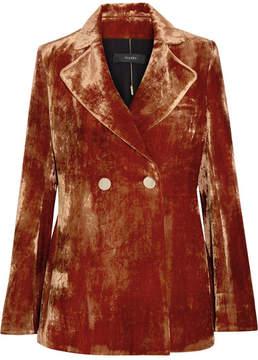 Ellery Boycott Double-breasted Crushed-velvet Blazer - Copper