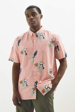 Barney Cools Pink Toucan Short Sleeve Button-Down Shirt