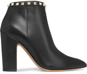 Valentino The Rockstud Leather Ankle Boots - Black