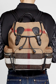Burberry Printed Jute and Cotton Backpack - MULTICOLORED - STYLE