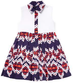 Oscar de la Renta Ikat Cotton and Pique Shirt Dress