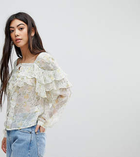Fashion Union Petite Button Front Blouse In Pastel Floral