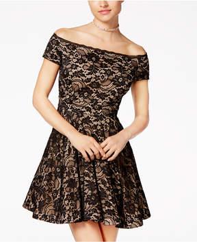 B. Darlin Juniors' Off-The-Shoulder Lace Skater Dress