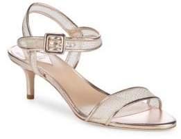 Aperlaï Metallic Kitten Heel Sandals