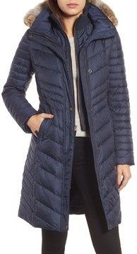 Andrew Marc Women's Chevron Quilted Coat With Genuine Coyote Fur Trim