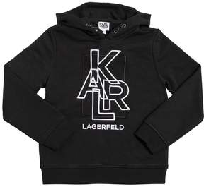 Karl Lagerfeld Hooded Embroidered Cotton Sweatshirt