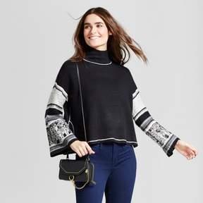 Cliche Women's Printed Sleeve Turtleneck Pullover Sweater Black/White