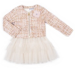 Nicole Miller Textured Jacket with Flower Applique & Lace Top Glitter Tulle Bottom Dress Set (Baby Girls)