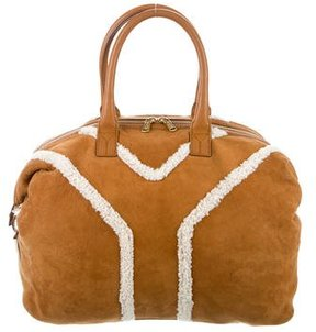 Saint Laurent Shearling-Trimmed Easy Bag - BROWN - STYLE