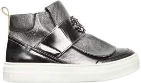 Roberto Cavalli Laminated Leather High Top Sneakers