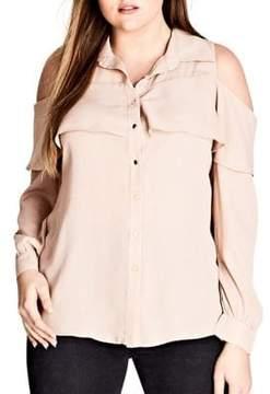 City Chic Plus Ruffle Cold-Shoulder Button-Down Shirt