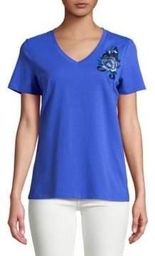 Isaac Mizrahi IMNYC Floral Embroidered Short-Sleeve Tee